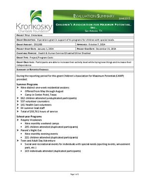 Children's Association for Maximum Potential, Inc. Evaluation Summary
