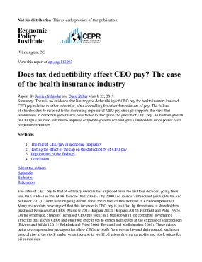 Does Tax Deductibility Affect CEO Pay? The Case of the Health Insurance Industry